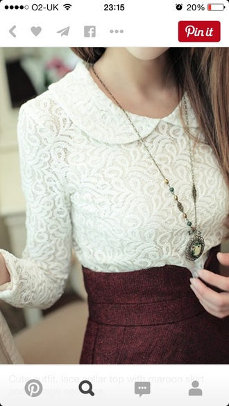top lace swirls white top peter pan collar white peter pan collar lace top white lace top long sleeves