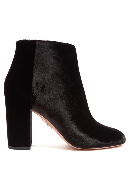 Aquazzura velvet ankle boots brooklyn ankle boots velvet black shoes
