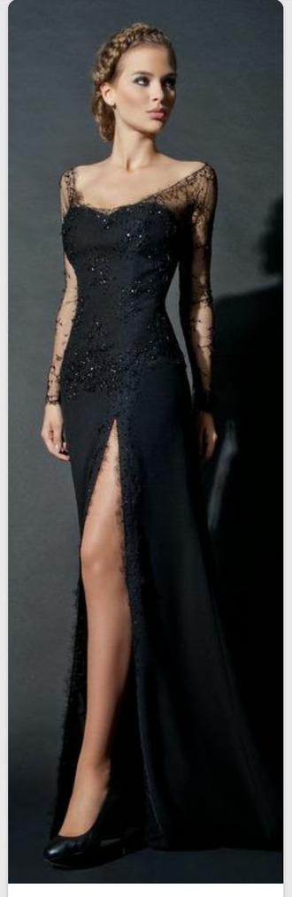 dress black dress sexy dress lace dress split side