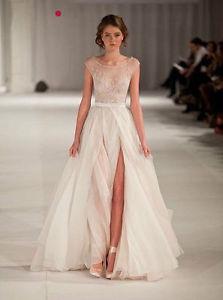 2014 new fantasy elie saab scoop tank split tulle evening fromal celebrity dress
