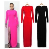 fushia,dress,black,red,pink,pink dress,red dress,black dress,jennifer lopez dress,prom dress,long sleeves,bodycon dress,slit dress,needing the exact same one as jlo but the black one or my ball :) x