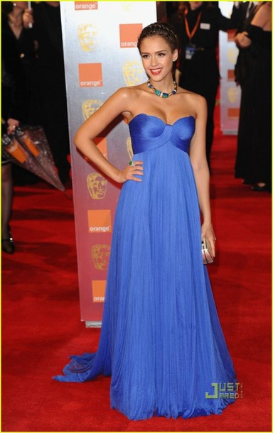 dress jessica alba red carpet dress blue dress prom dress