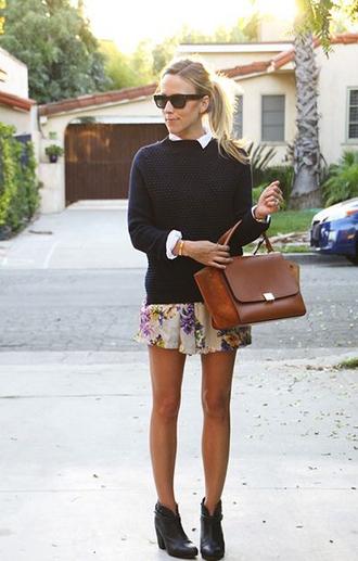 sweater shirt vintage bag shoes autumn floral flowers sunglasses skirt