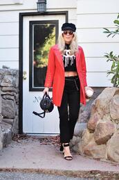 love maegan,blogger,shoes,pants,jacket,tights,bag,t-shirt,jeans,sandals,spring outfits,chanel inspired,red coat,fisherman cap