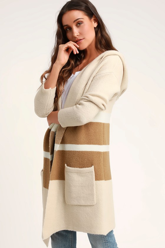 Carlsbad Tan and Beige Hooded Cardigan Sweater