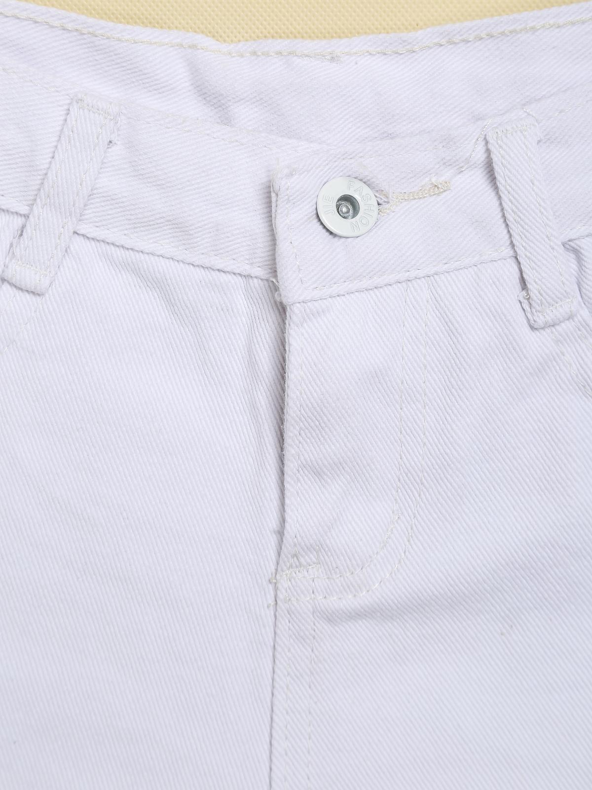 White Ripped Fringe Denim Shorts - Sheinside.com