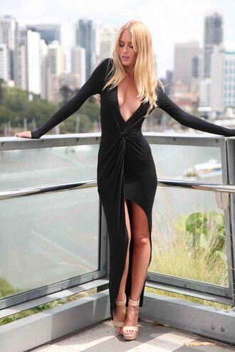little black dress asymmetrical ustrendy black plunge maxi dress deep v dress