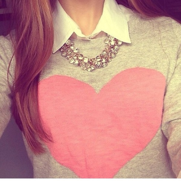 sweater heart necklace collar heart sweater