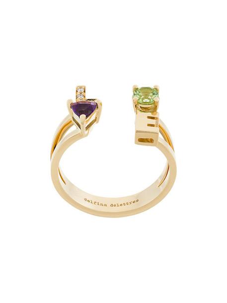 Delfina Delettrez women love ring gold yellow grey metallic jewels