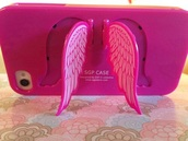 phone cover,pink,wings,iphone,tumblr,cute