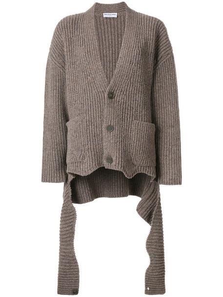 Balenciaga cardigan cardigan women draped wool grey sweater