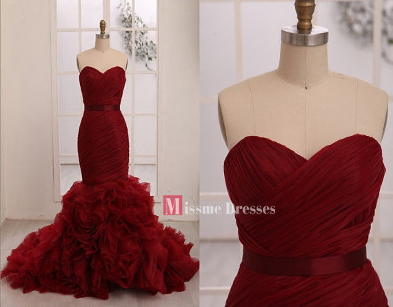 2014 custom made wine red mermaid prom party long dresses formal evening gowns