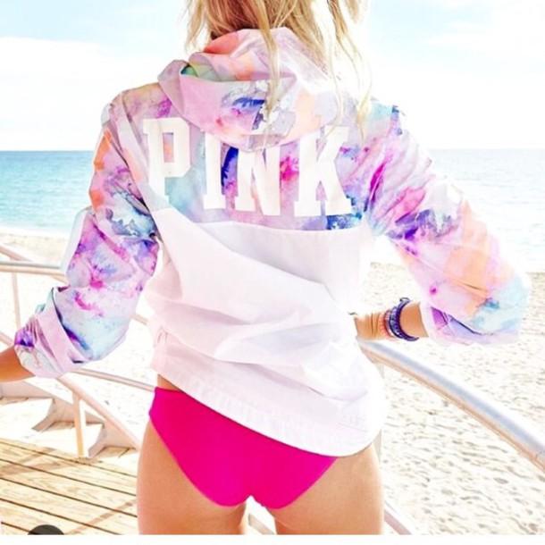 98353b839f655 NWT Victoria's Secret PINK Tropical Rainbow Anorak Windbreaker Jacket XS/S