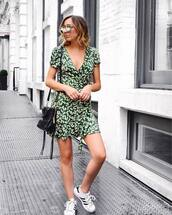 dress,tumblr,floral,floral dress,mini dress,wrap dress,green dress,sneakers,white sneakers,low top sneakers,adidas,adidas shoes,bag,shoes,sunglasses