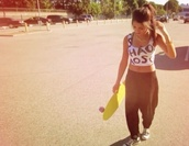 pants,longboard,crop tops,hipster,summer,shirt,penny board,black