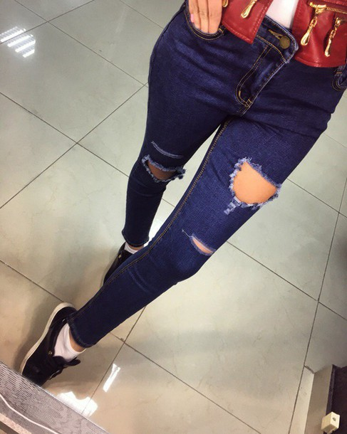 White ripped jeans high street