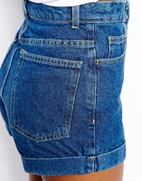 American Apparel | American Apparel High Waist Denim Shorts at ASOS