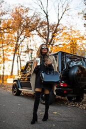 maria vizuete,mia mia mine,blogger,coat,sweater,dress,shoes,bag,sunglasses,fall outfits,thigh high boots,over the knee,givenchy bag