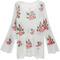 White slash flowers print knit long sleeve sweater - sheinside.com