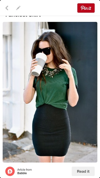 top green skirt bodycon skirt black t-shirt comfy necklace statement necklace