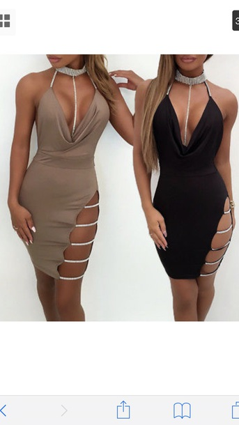 dress black bodycon polyester thigh split diamonds diamante side split