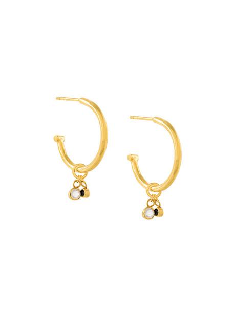 Maya Magal women moon earrings hoop earrings gold silver grey metallic jewels