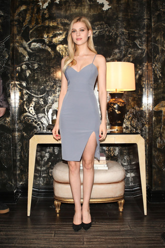 dress nicola peltz grey dress bodycon dress spaghetti straps dress spaghetti strap sexy dress pumps black pumps celebrity actress cocktail dress blue dress