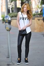 pants,leggings,top,bella thorne,bag,make-up,shirt,shoes