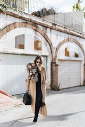 seams for a desire,blogger,dress,shirt,shoes,bag,coat,sunglasses,scarf,sweater,jacket,fur scarf,winter outfits,boots,beige coat,handbag
