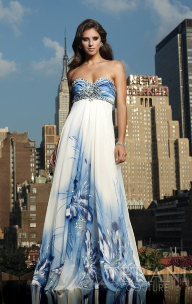 dress gradient floral white blue clouds sky beaded strapless prom dress