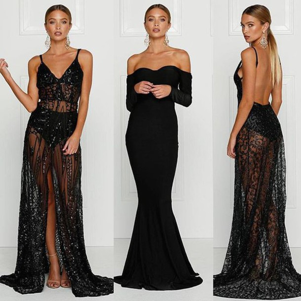 Dress Alamour The Label Long Black Cristal Sequing Owns