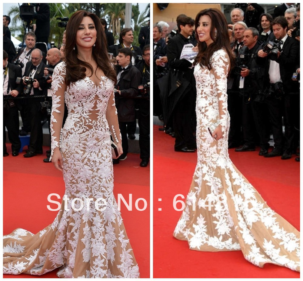 Aliexpress.com : Buy New Fashion Dramatic V Neck Applique Long Mermaid Sleeve Prom Dresses Celebrity Evening dress Inspired By Najwa Karam TB 06 from Reliable dress up a black dress suppliers on Suzhou Babyonlinedress Co.,Ltd