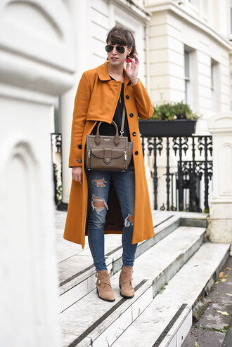 thank fifi blogger coat t-shirt jeans shoes jewels bag orange coat fall outfits ankle boots
