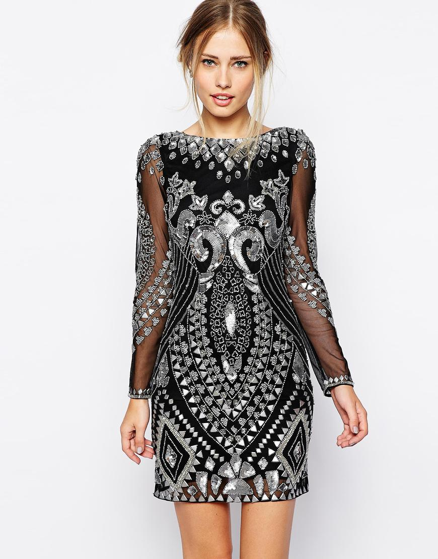 Frock and frill all over embellished shift dress with long sleeve at asos.com