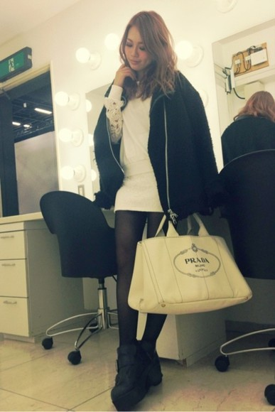 prada fashion white bag dress lace lace dress mini dress streetstyle instagram