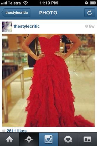dress red gown graduation prom formal long tulle skirt red dress strapless dress strapless style long dress