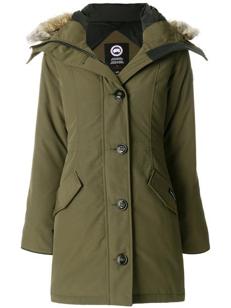 canada goose coat parka fur women cotton green