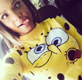 shirt black christina milian yellow top yellow spongebob hoop earing style fashion
