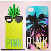 phone cover,iphone,cover,pink,blue,yellow,iphone case,victoria's secret,palm tree print,pink by victorias secret,hat
