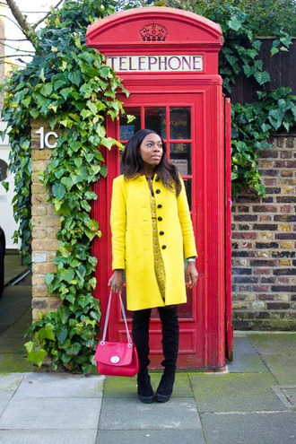 i want you to know blogger yellow coat red bag
