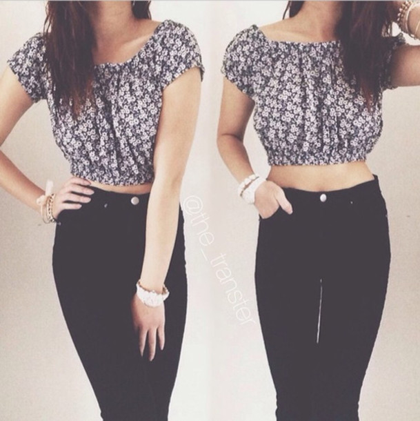 Shirt crop tops high waisted jeans summer tumblr blouse - Wheretoget