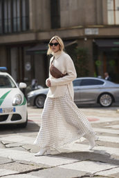 sweater,white sweater,skirt,white skirt,tumblr,knit,knitted sweater,turtleneck sweater,turtleneck,maxi skirt,polka dots,boots,white boots,fanny pack