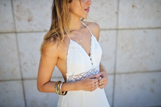 cuppajyo blogger jewels bag shoes halter top white dress v neck v neck dress summer dress date outfit