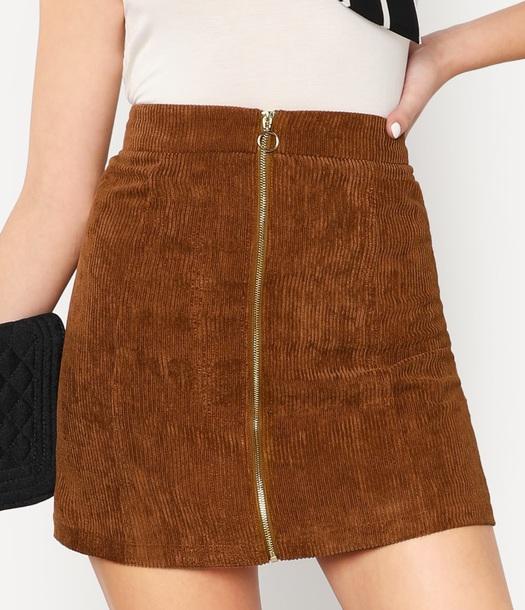 skirt girly brown corduroy zip zipped skirt mini mini skirt