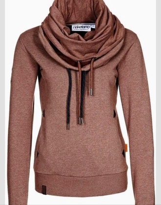 shirt cowl neck copper draw string long sleeves