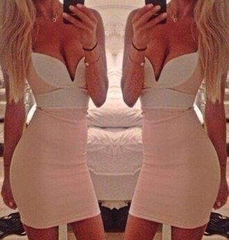 pink dress white and pink dress white dress colorblock new new dress selfie strappy dress