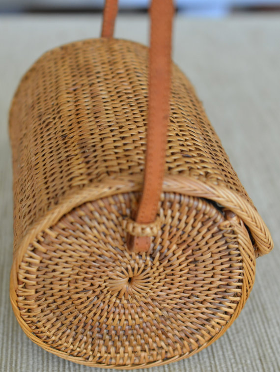 Basket Purse Tan Woven Rattan Bag With Brown By