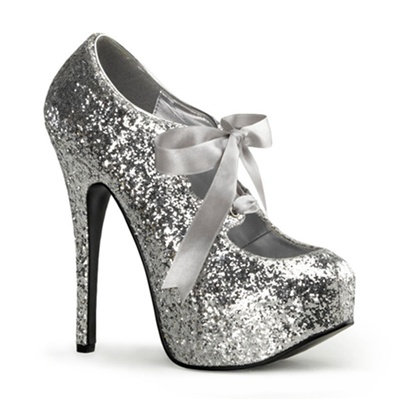 10 silver glitter platform pumps
