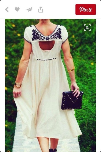 dress cream cream dress black bohemian hipster girly fit and flare dress fancy back cut outs midi dress modest dress embroidered