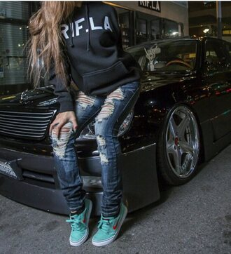 jeans nike shoes teal hoodie ripped jeans cute jeans highlights cars shoes style